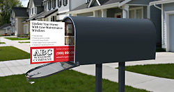 Mailbox with a direct mail promotional piece sticking out of it.