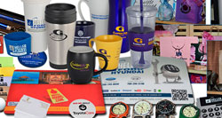 Example of the types of promotional products we offer -- cups, mugs, keychains, watches, etc.