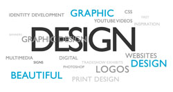 Generic graphic design image with descriptive words such as Beautiful, Print Design, Website Design, Multimedia, and Identity Development